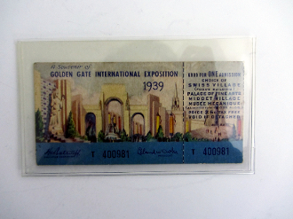 1939 GGIE un-used ticket - Swiss Village - Palace of Fine Arts