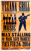 Texana Grill,poster,Live Texas Music,2004,Hatch Show Print