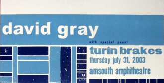 David Gray Turin Brakes Amsouth Amp 2003 letterpress