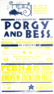 Nashville Symphony Porgy and Bess 2006 Hatch Show Print