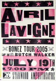 Avril Lavigne Starwood 2005 Bonez Tour SOLD