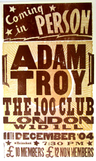 Adam Troy The 100 Club London 2004 Hatch Show Print