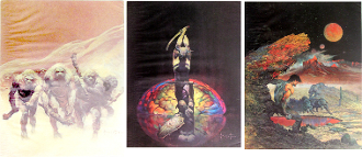Frank Frazetta 3 sci fi posters - slight water damage dried flat