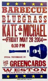 Barbecue and Bluegrass Kate & Michael 2004 Hatch Show Print