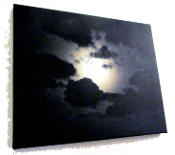 """Full Moon Breaking Through The Clouds"" 20x16 wallhanging free s"