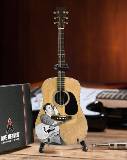 "Elvis Presley Acoustic Guitar 10"" with cardboard case and std"
