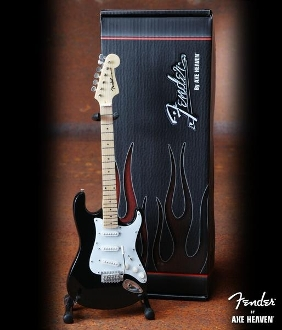 Fender Strat Black/white. Cardboard case and std